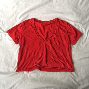 Brandy melville red v neck cropped tee crop top